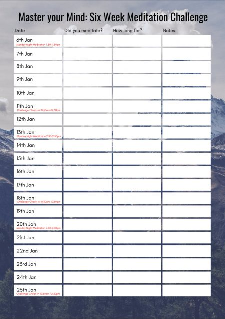 Meditation Challenge Diary